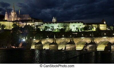 Prague night - A suggestive timelapse clip view of Charles...