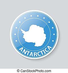 AntarcticaVector label badge with map of Antarctica