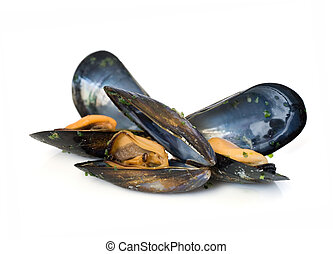 three mussels boiled with garlic isolated on white...
