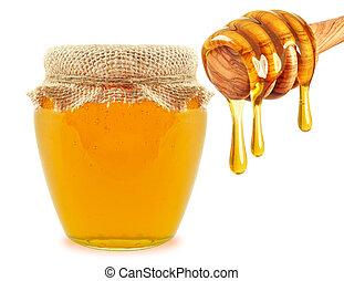 miel, y, cucharón,