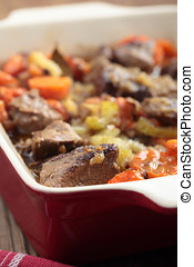 Lamb meat and vegetables stew