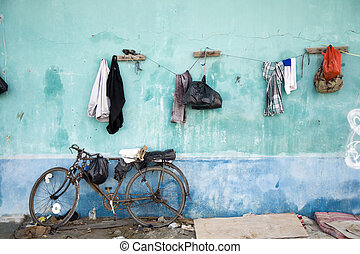 Hanging clothes in a slum area in Jakarta, Indonesia