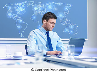businessman with laptop working in office - business, people...