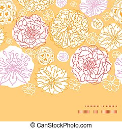 Vector warm day flowers horizontal frame seamless pattern...