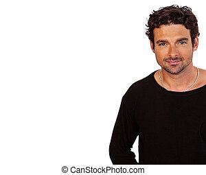 Handsome Dark Hair Man With Copy Space - Attractive...