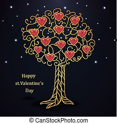 Gold forged valentines day tree with hearts