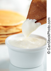Crepe with sour cream