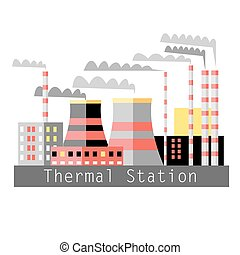 thermal power - graphic color illustration thermal power...