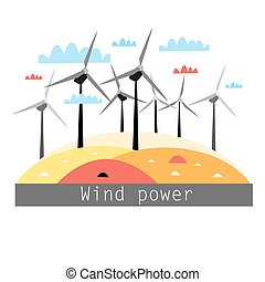 illustration of wind power - graphic color illustration wind...