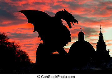 Dragon bridge, Ljubljana, Slovenia, Europe - Vivid sunset...