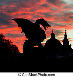 Dragon bridge, Ljubljana, Slovenia, Europe. - Vivid sunset...