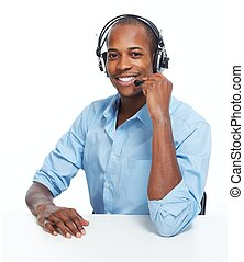 Call center operator man. - Call center operator man with...