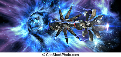 Spaceship entering a wormhole - Futuristic interstellar...
