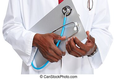 Hands of medical doctor man. - African-American Medical...