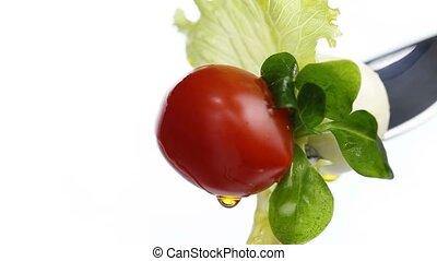 fork lettuce salad tomato oil
