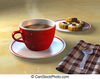 Coffee break - A cup of coffee and some biscuits on a table....