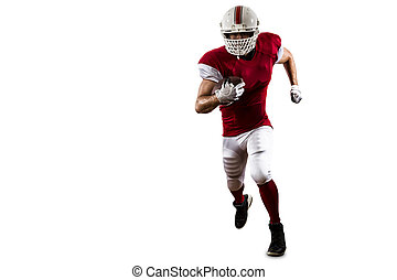 Football Player with a red uniform Running on a white...