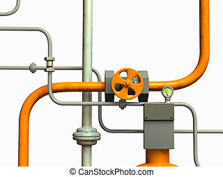 Pipes system - Crossing pipes system, white background. CG...