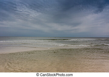 Quiet Gulf Coast Morning - Shallow waters over a sand bar in...