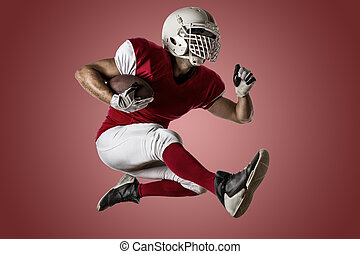 Football Player with a red uniform Running on a red...