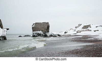 Dramatic frozen demolished forts ruins