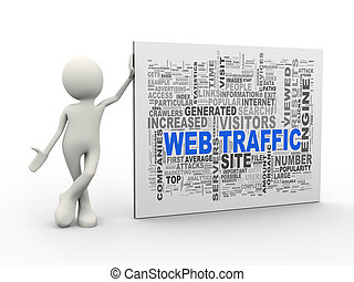 3d man standing with web traffic wordcloud word tags
