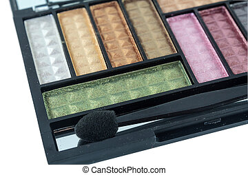 Eye shadows - Colorful eye shadows palette with makeup brush...