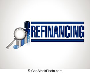 refinancing business graph illustration design over a white...
