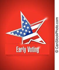 temprano, patriótico, votación, nosotros