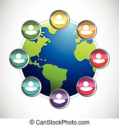 people diversity globe illustration design over a white...