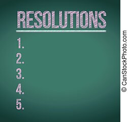 resolutions list illustration design over chalkboard...