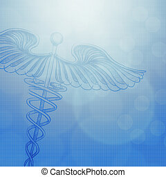 caduceus with abstract  medical concept background