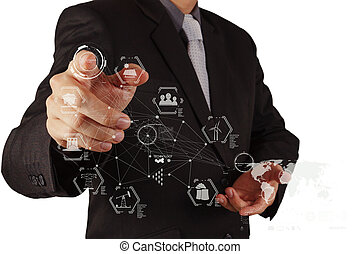 businessman hand working with logistics technology concept