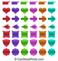 Set of colorful web buttons of different shapes.