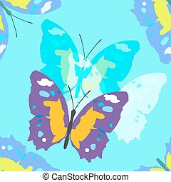 Colorful seamless background with butterflies Vector...