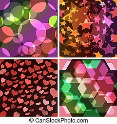 Set of 4 seamless patterns The abstract colourful design...