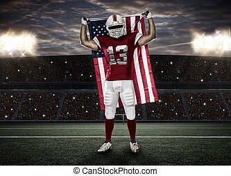 Football Player with a red uniform and a american flag, on a...