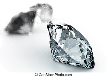 blue diamond on black -  diamonds on white background