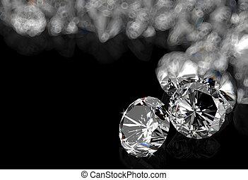 diamantes, en, negro, superficie,