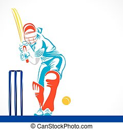 creative abstract cricket player design by brush stroke...