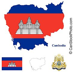 Cambodia Flag - Flag and national coat of arms of the...