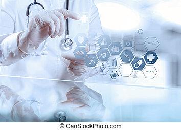 esperto, médico, doutor, trabalhando, com, operando,...