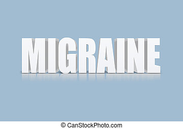 migraine text - 3D text with shadow and reflection,...