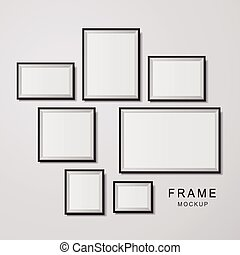 photo frame mockup set isolated on white background