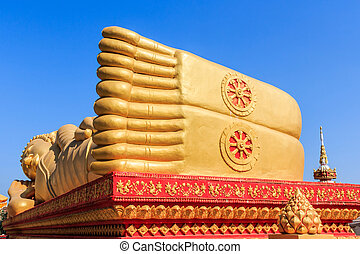 Image of Reclining Golden Buddha Feet. - Image of Reclining...