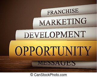 book title of opportunity isolated on a wooden table