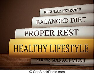 book title of healthy lifestyle isolated on a wooden table...