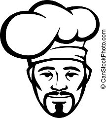 Hispanic chef in a white toque - Smiling hispanic chef with...