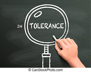 tolerance word with magnifying glass drawn by hand over...