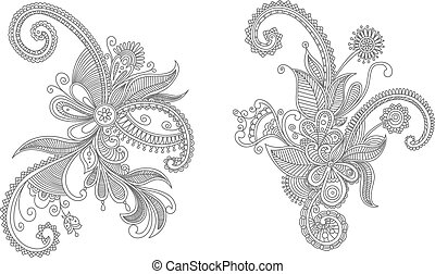 Intricate swirling floral elements